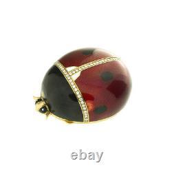18k Yellow Gold Diamond Red & Black Enamel Lady Bug Pill Box Rare