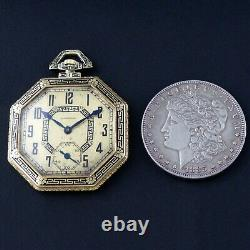 1918 Longines 14K Yellow Gold & Black Enamel Art Deco Octagonal Pocket Watch