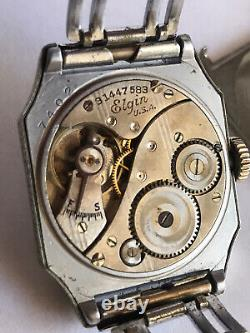 1920`s-30`s ELGIN ART DECO BLACK ENAMEL ETCHED CASE MAN`S WATCH 14K Gold Filled