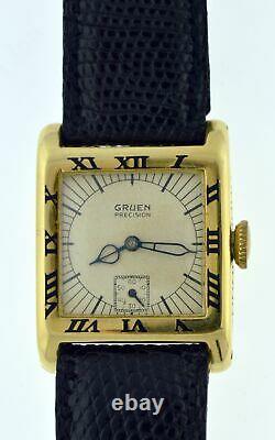 1926 Art Deco Gruen Centurion 115 24mm 14k Gold Enamel Roman Numeral Tank Watch