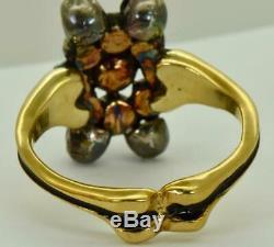 19th C. Victorian 9k Gold, black enamel&Diamonds Memento Mori/Mourning Skull ring