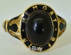 19th C. Victorian Memento Mori/Mourning 9k gold, Onyx & black enamel ornate ring