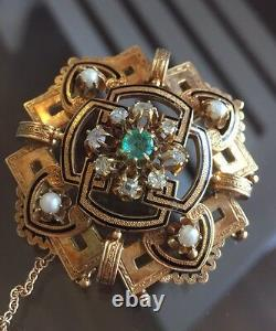 19th Century 18K Yellow Gold And Diamond Pearls Brooch With Black Enamel