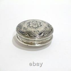 2.25 Sterling Silver Gilded Interior Black Enamel Antique Floral Snuff/Pill Box