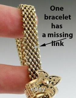 2 Antique Victorian 1800s 14K Yellow Gold Black Enamel Slide/Slider Bracelets