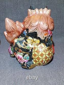 2 Vtg Ceramic Porcelain Enamel Black/ Rust/Gold Foo Dog Guardian Lion Statue