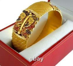 22K Yellow Gold Bangle Bracelet Red Black Enamel Floral Design 36.2 Grams