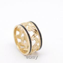8.5mm Hawaiian 14K Yellow Gold Diamond Cut Maile Leaf Black Enamel Ring Size 7