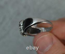 9 Carat White Gold and Black Enamel Crown Ring f0707