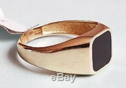 9ct Gold Black Enamel Signet Ring Size S(RRP £190)