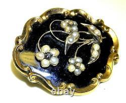 9ct Gold Pearl Diamond Mourning Brooch Pin Black Enamel Hair Victorian C1844