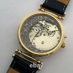 ANTIQUE Mechanical Mens Marriage Luxury Swiss Wristwatch Gilt case Enamel Dial