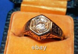ANTIQUE OLD MINE DIAMOND & BLACK ENAMEL 14K YELLOW GOLD MENS RING withBox