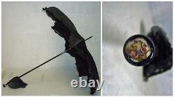 ANTIQUE PARASOL-8 POINT STAR CANOPY-HAND PAINTED GLASS & ENAMEL END WithGOLD PLATE