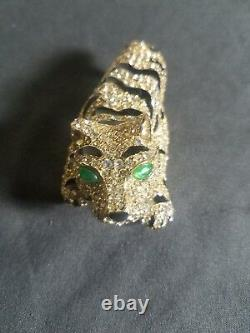 Amazing Ciner Gold- Black-green Enamel Rhinestone Encrusted Tiger Brooch