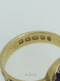 An Antique 18ct Gold, Black Enamel & Diamond Mourning (Memorial) Ring, c1884