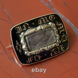 An Antique Gold And Black Enamel Mourning Brooch, Engraved And Dated 1837