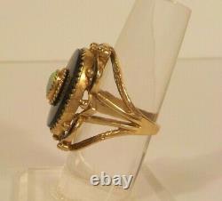 Antique 10 K Gold, Fire Opal, Onyx & Enamel Ring, Size 6.75, 8.9 grams