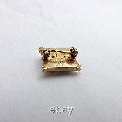 Antique 14K Gold Alpha Sigma Phi Fraternity Sorority Black Enamel Pin 5gr