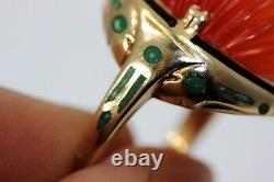 Antique 14K Gold Ribbed Domed Carnelian withBlack & Green Enamel Sz 5 3546