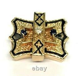 Antique 14K Solid Yellow Gold DIAMOND SAPPHIRE BLACK-ENAMEL Slide Pendant