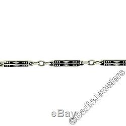 Antique 14K White Gold 14.5 Black Enamel Geometric Bar Link Pocket Watch Chain