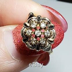 Antique 14K Yellow Gold 1/2 ct Diamond Ring withBlack Enamel Sz 5.5/ Anillo de Oro