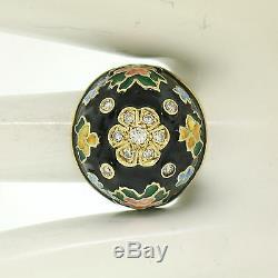 Antique 14K Yellow Gold Diamond Black Blue Green Yellow Enamel Dome Flower Ring