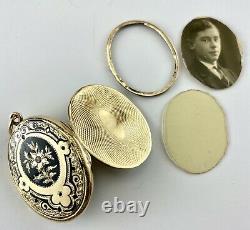 Antique 14K Yellow Gold Locket Pendant Black Enamel Victorian Pearl Mourning Vtg