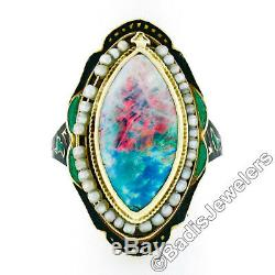 Antique 14K Yellow Gold Marquise Opal Seed Pearl Halo Green & Black Enamel Ring