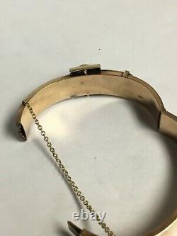 Antique 14K Yellow Gold and Black Enamel Belt Buckle Hinged Bangle Bracelet