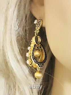 Antique 14k/18k Gold Diamond Black Enamel Dangle Earrings Rare Elegant