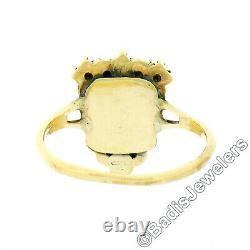 Antique 14k Gold Cabochon Opal Halo with Black Enamel & Medical Symbol Shield Ring