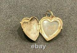 Antique 14k Gold Heart Charm Locket Turquoise & Black Enamel Seed Pearl BIN