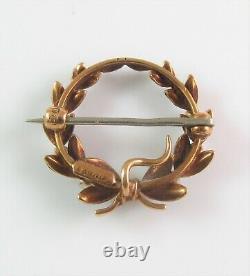 Antique 14k Gold Henry Kohn & Sons Black Enamel & Pearl Wreath Watch Pin Brooch