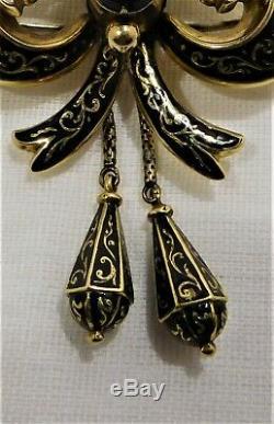 Antique 15 ct gold & black enamel & sardonyx mourning brooch c 1870