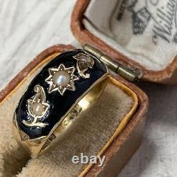 Antique 15ct Gold Black Enamel Pearl Mourning Ring & Antique Box UK L 1/2
