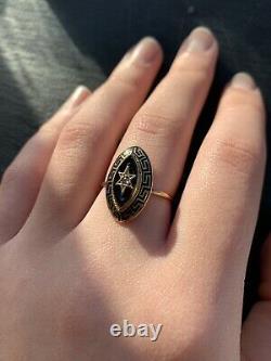 Antique 15ct Yellow Gold Black Enamel Diamond Star Marquise Locket Back Ring