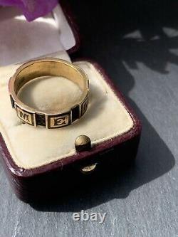 Antique 15ct Yellow Gold Black Enamel Memory Band