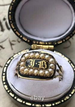 Antique 1825 Black Enamel Gold Georgain Mourning Ring Set With Natural Pearls