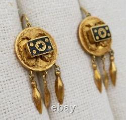 Antique 18k Gold VICTORIAN DANGLE STAR EARRINGS Taille D'epargne Black Enamel