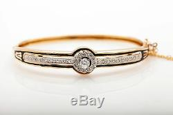 Antique 1920s $6000 Black Enamel 14k Yellow Gold 2ct Diamond Bangle Bracelet