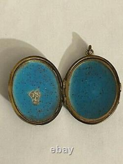 Antique 19th Cent. 14K Yellow Gold Black Enamel Seed Pearls Locket Grapes Leaves
