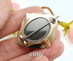 Antique 9 CT Gold Black Enamel Seed Pearl Mourning Brooch with Hair Window