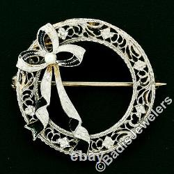 Antique Art Deco 14K Gold Seed Pearl Black Enamel Bow Filigree Wreath Brooch Pin
