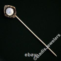 Antique Art Deco 14K White Gold Blue Moonstone Black Enamel Engraved Stick Pin