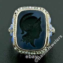 Antique Art Deco 14k White Gold Intaglio Agate Seed Pearl & Enamel Filigree Ring