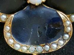 Antique Art Nouveau 14k Gold Enamel Opal Pearl Pansy Pendant Pin-Estate Jewelry