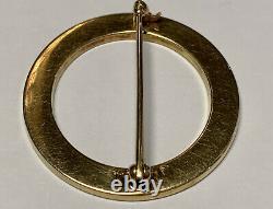 Antique Art Nouveau Carter Gough Co. 14k Gold Black Enamel Circle Pin Brooch