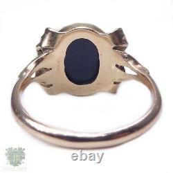 Antique Australian solid 9ct gold black opal triplet ring